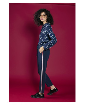 PANTALON REMIND AZUL CON RAYA LATERAL