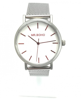 RELOJ MR BOHO PLATA Y CHERRY